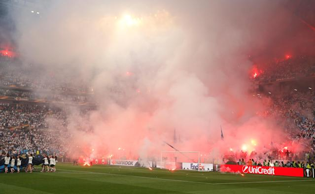 Soccer Football - Europa League Final - Olympique de Marseille vs Atletico Madrid - Groupama Stadium, Lyon, France - May 16, 2018 General view of flares set off in the stands before the match REUTERS/John Sibley