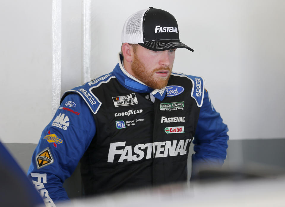 DAYTONA BEACH, FLORIDA - FEBRUARY 08: Chris Buescher, driver of the #17 Fastenal Ford, stands in the garage area during practice for the NASCAR Cup Series 62nd Annual Daytona 500 at Daytona International Speedway on February 08, 2020 in Daytona Beach, Florida. (Photo by Brian Lawdermilk/Getty Images)