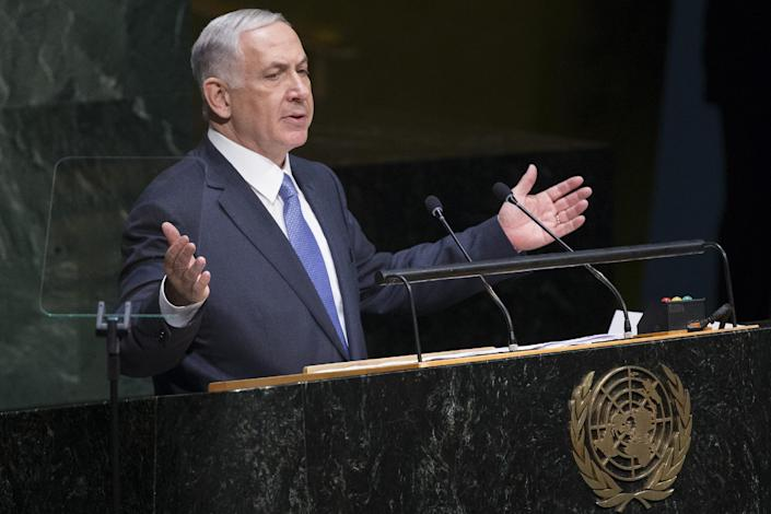 Israel's Prime Minister Benjamin Netanyahu addresses the 69th session of the United Nations General Assembly at U.N. headquarters, Monday, Sept. 29, 2014. (AP Photo/John Minchillo)
