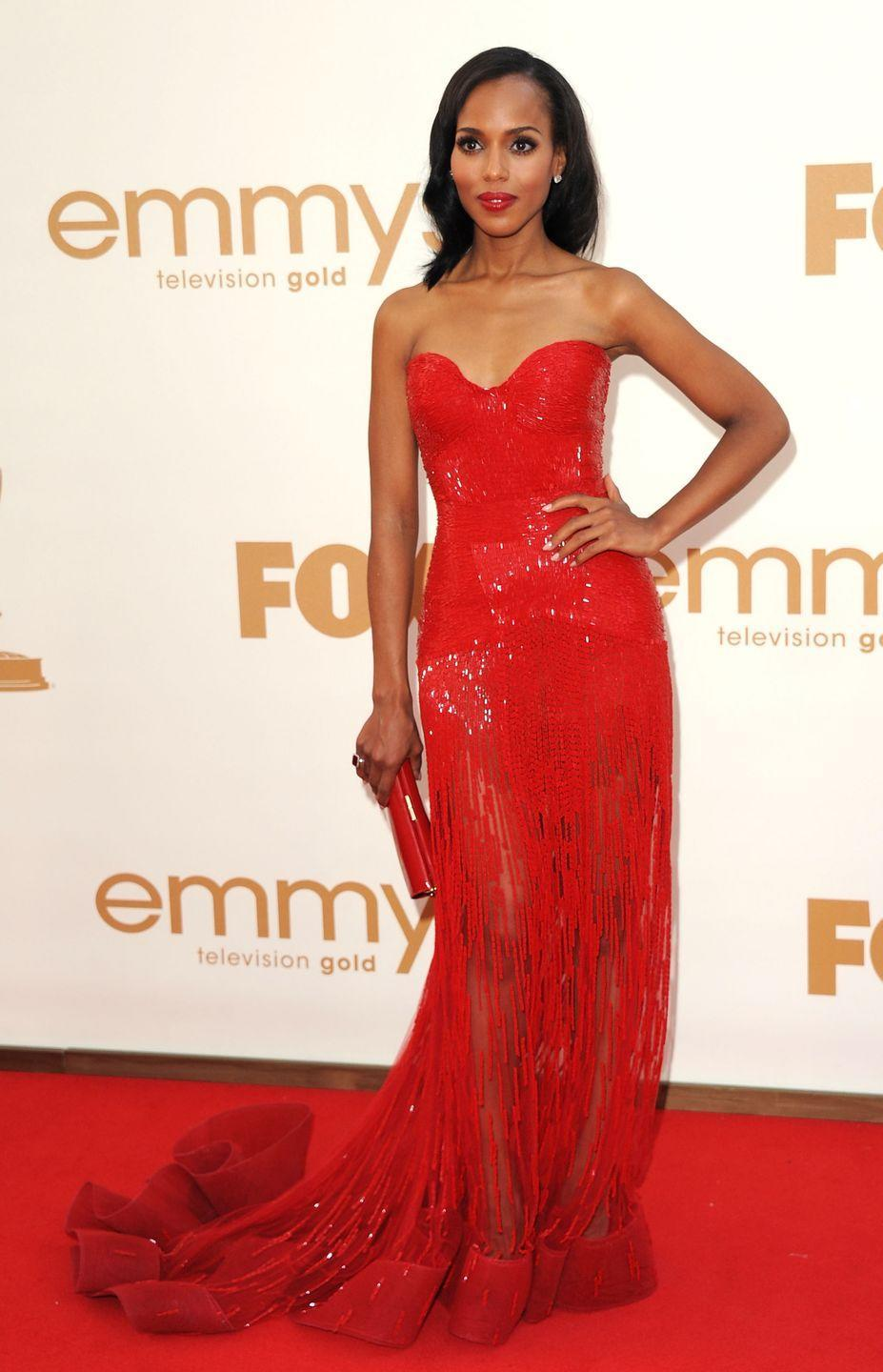 <p>Kerry matched a fire-red strapless number featuring a small train to her lipstick (and the literal red carpet!). This was right when she joined <em>Scandal, </em>as the first episode premiered in 2012. </p>
