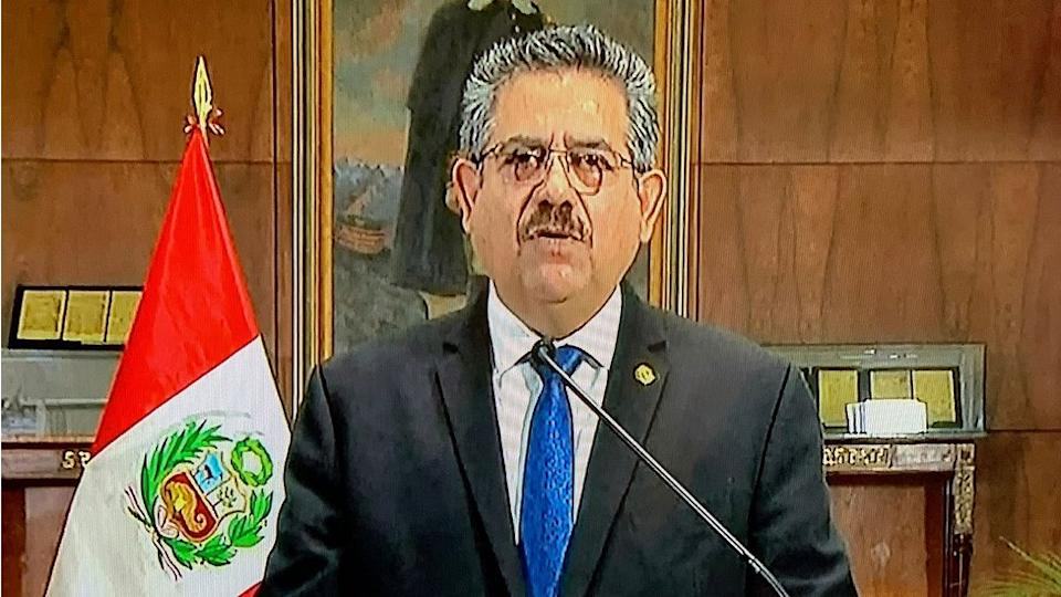 A TV grab taken as Manuel Merino announces his resignation in a televised message from the Government Palace, on 15 November 2020