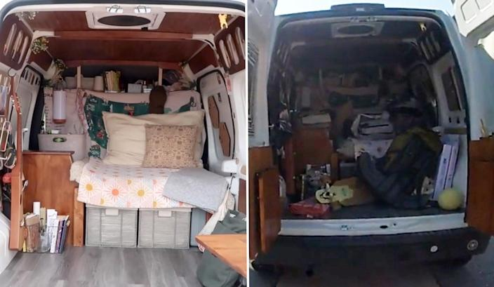 Images of the van shown in police bodycam footage, and from the couple's YouTube channel, posted days later (Moab City Police Department / Nomadic Static YouTube channel)
