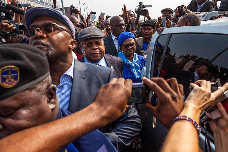 Veteran Democratic Republic of Congo opposition leader Etienne Tshisekedi, who died on February 1, 2017, seen shortly after his arrival in Kinshasa in 2016 (AFP Photo/Eduardo Soteras)