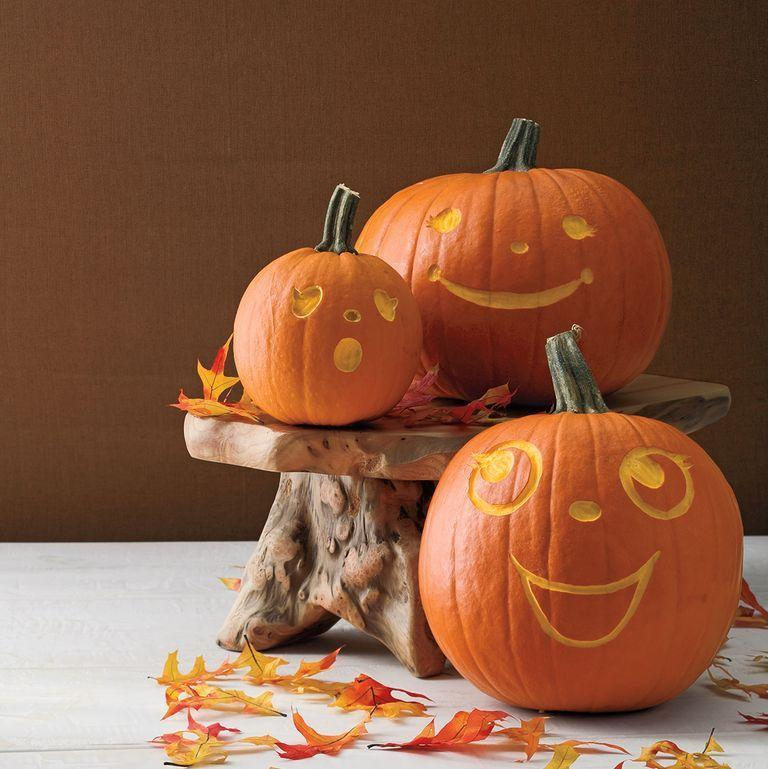"""<p>You don't have to worry about dealing with pumpkin guts with this carving idea. The only thing you need to do is carve out the surface of the pumpkin with a linoleum cutter.</p><p><em><strong><a href=""""https://www.womansday.com/home/crafts-projects/a28580830/groovy-gourds/"""" rel=""""nofollow noopener"""" target=""""_blank"""" data-ylk=""""slk:Get the Groovy Gourds tutorial."""" class=""""link rapid-noclick-resp"""">Get the Groovy Gourds tutorial.</a></strong></em></p>"""