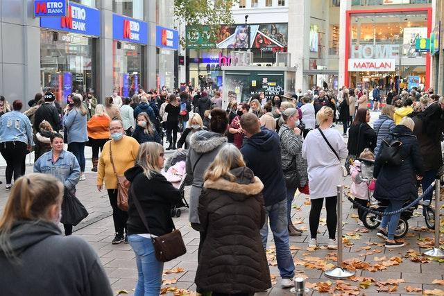 Shoppers in central Cardiff