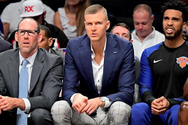 "<a class=""link rapid-noclick-resp"" href=""/nba/players/5464/"" data-ylk=""slk:Kristaps Porzingis"">Kristaps Porzingis</a> took media reports into his own hands and showed photos of him on the track. (Getty Images)"