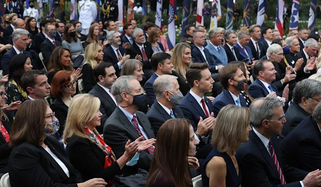 Attendees are packed tightly at a White House reception on September 26 that is suspected of being a superspreader event. Photo: Getty Images/AFP