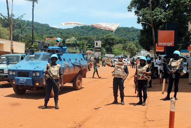 United Nations peacekeepers are seen stationed in the center of the Central African Republic capital Bangui, on October 8, 2014