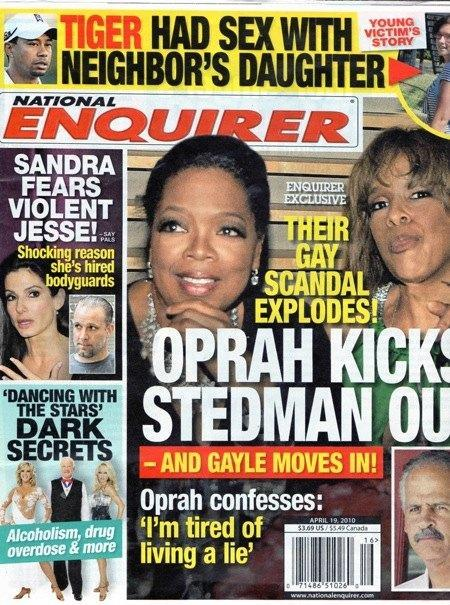 For years Oprah and Gayle have said they are just friends, but that hasn't stopped this. (Photo: National Enquirer)