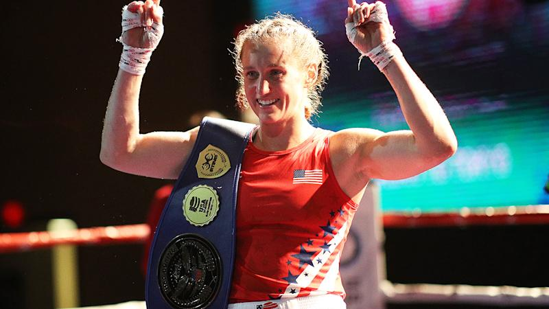 Virginia Fuchs, pictured here after beating Christina Cruz at the 2020 US Olympic Boxing Team Trials.