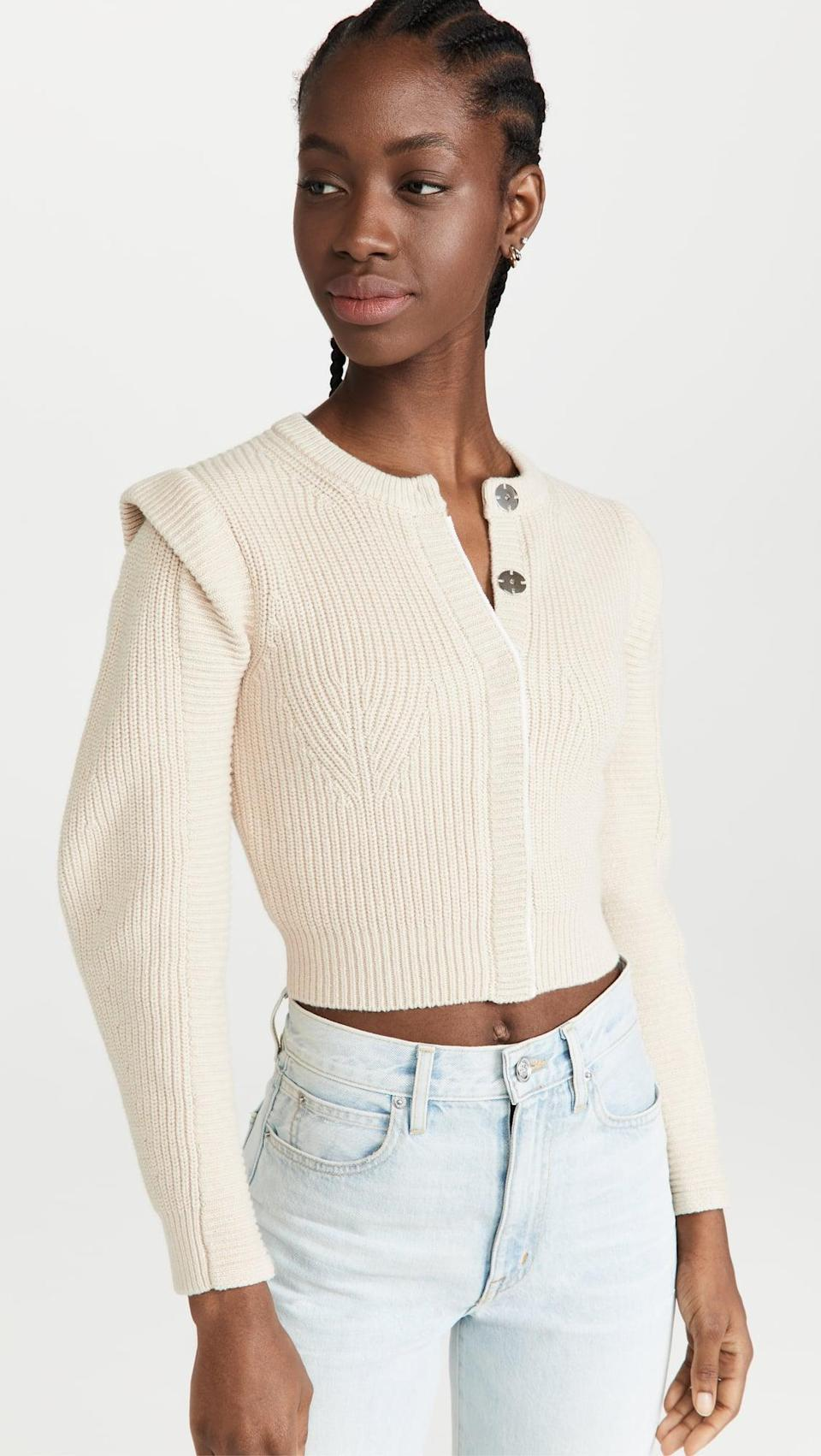 <p>The shoulders on this <span>Self Portrait Sand Knit Cardigan</span> ($340) are major. It's so sophisticated and great for fall.</p>