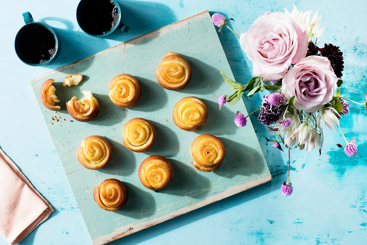 "These thinly-rolled pastries are made with both orange zest and juice for a full burst of sweet citrus flavor. Make them on Saturday night to have them on hand (gently reheated) on Sunday morning. <a href=""https://www.epicurious.com/recipes/food/views/orange-sweet-rolls?mbid=synd_yahoo_rss"">See recipe.</a>"