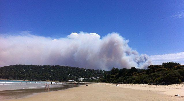 Fire burning along the Great Ocean Road on Christmas Day. Source: AAP