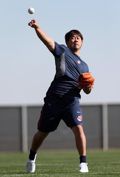 Cleveland Indians pitcher Daisuke Matsuzaka, of Japan, throws during baseball spring training in Goodyear, Ariz., Tuesday, Feb. 12, 2013. (AP Photo/Paul Sancya)