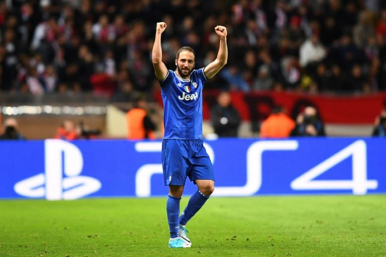 Juventus' forward Gonzalo Higuain reacts after scoring his second goal against Monaco on May 3, 2017