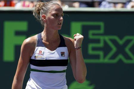 Mar 30, 2017; Miami, FL, USA; Karoilina Pliskova of the Czech Republic gestures after winning the first set against Caroline Wozniacki of Denmark (not pictured) in a women's singles semi-final during the 2017 Miami Open at Crandon Park Tennis Center. Geoff Burke-USA TODAY Sports