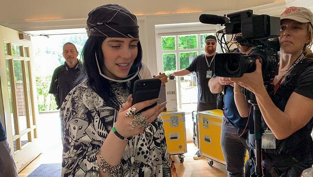 Billie Eilish during the filming of The World's A Little Blurry