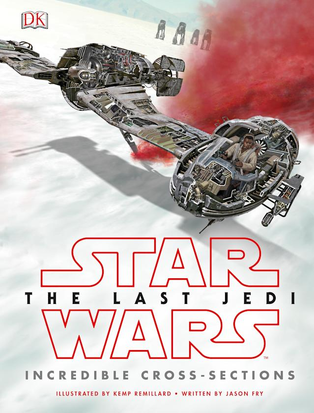 <p>DK's intricately illustrated book provides detailed breakdowns of all the new vehicles in 'The Last Jedi,' including ski-speeders, TIE Silencer, and AT-M6 walkers. </p>