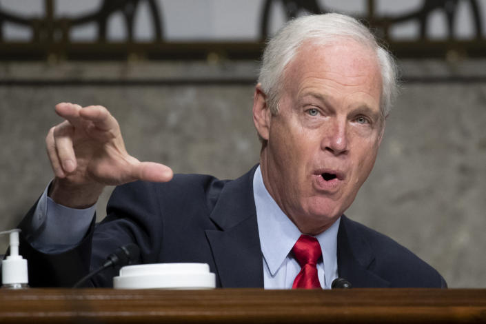Sen. Ron Johnson, R-Wis., speaks during a confirmation hearing for United States Ambassador to the United Nations nominee Linda Thomas-Greenfield before the Senate Foreign Relations Committee on Capitol Hill, Wednesday, Jan. 27, 2021, in Washington. (Michael Reynolds/Pool via AP)