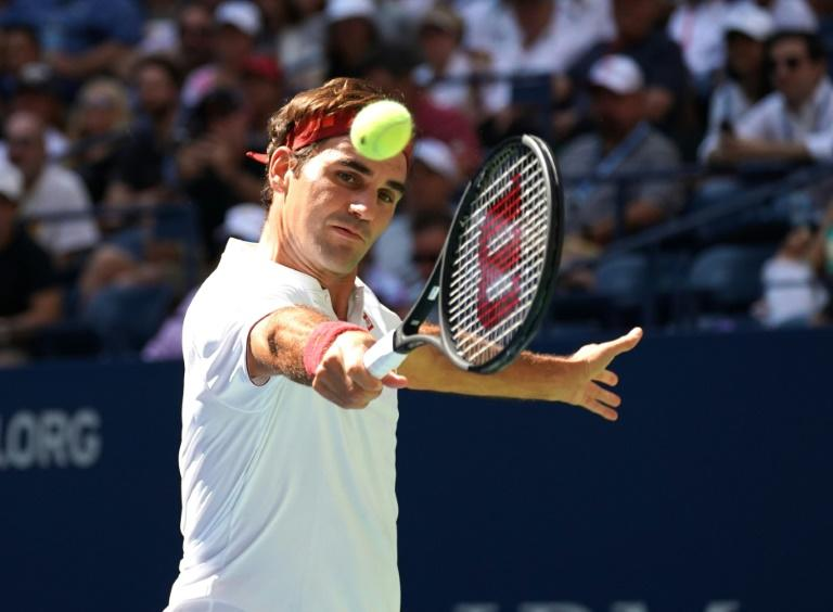 Straight sets: Five-time champion Roger Federer en route to a US Open third-round victory over Nick Kyrgios