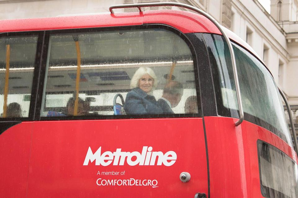 <p>Camilla and Prince Charles take a double decker bus from Clarence House to the London Transportation Museum. </p>