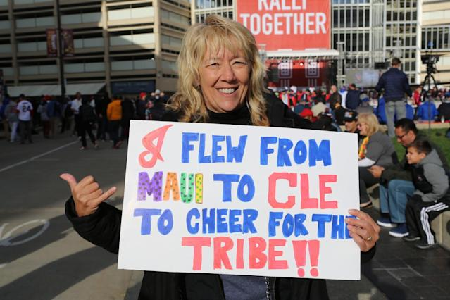 Angie Brown flew in from Maui to celebrate the Cavs' banner raising and the Indians playing in the World Series. (Alan Springer)