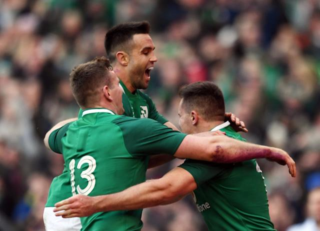 Rugby Union - Six Nations Championship - Ireland vs Wales - Aviva Stadium, Dublin, Republic of Ireland - February 24, 2018 Ireland's Conor Murray, Chris Farrell and Jacob Stockdale celebrate after their fourth try scored by Cian Healy (not pictured) REUTERS/Clodagh Kilcoyne