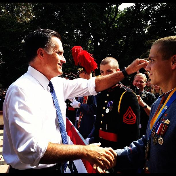 Mitt Romney shakes hands with cadets (Wayne PA)