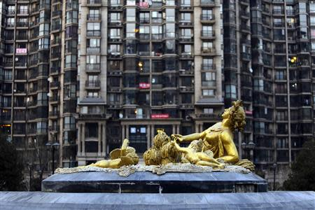 File picture shows sculpture in front of an apartment block in Beijing