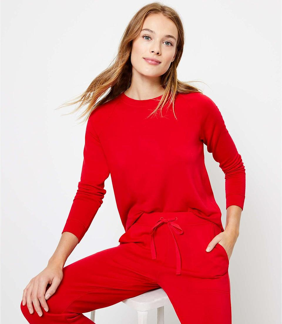 <p>If you're looking for a cozy sweatsuit that you'll want to live in, the <span>Lou &amp; Grey Signature Softblend Sweatshirt</span> ($70) and <span>Sweatpants</span> ($70) is the way to go.</p>