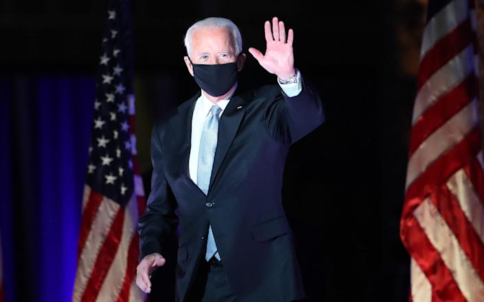 President-elect Joe Biden takes the stage at the Chase Centre to address the nation - Drew Angerer/Getty Images