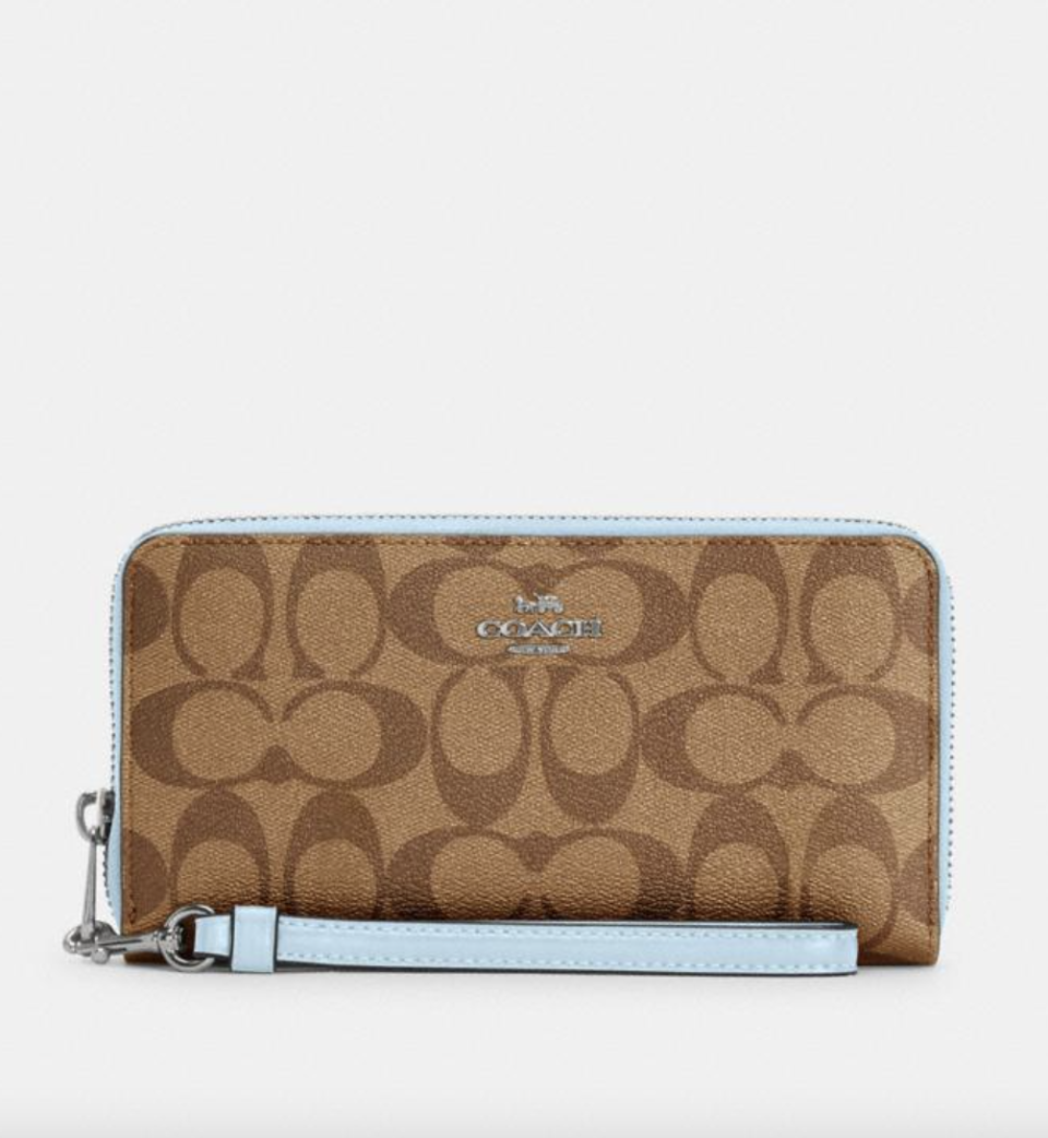 Long Zip Around Wallet in Signature Canvas Khaki/Waterfall (Photo via Coach Outlet)