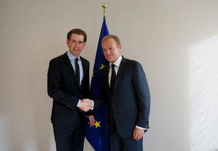 Austrian Foreign Minister Sebastian Kurz meets with European Council President Donald Tusk in Brussels