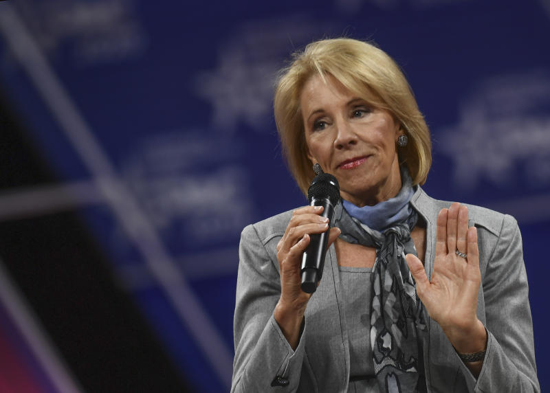 OXON HILL, MD - FEBRUARY 27: Education Secretary Betsy DeVos speaks to the crowd gathered during the Conservative Political Action Conference (CPAC) annual meeting on Thursday, February 27, 2020. (Photo by Toni L. Sandys/The Washington Post via Getty Images)