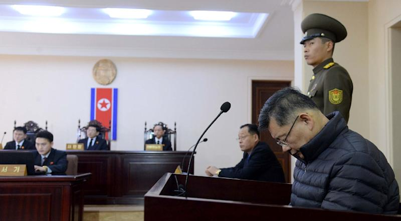 A North Korean court last month sentenced Canadian pastor Hyeon Soo Lim (right) to life imprisonment with hard labour on sedition charges (AFP Photo/)