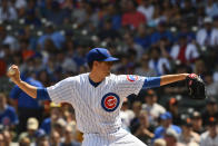 Chicago Cubs starting pitcher Kyle Hendricks (28) delivers during the first inning of a baseball game against the San Francisco Giants Thursday, Aug. 22, 2019, in Chicago. (AP Photo/Matt Marton)