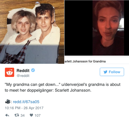 Scarlett Johansson Has a Grandma Doppelgänger, and She Wants to Get Drunk With Her