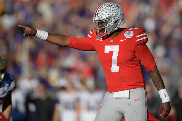 Sporting the No. 7 jersey at Ohio State, Dwayne Haskins went 13-1 as a starter last season. (AP)