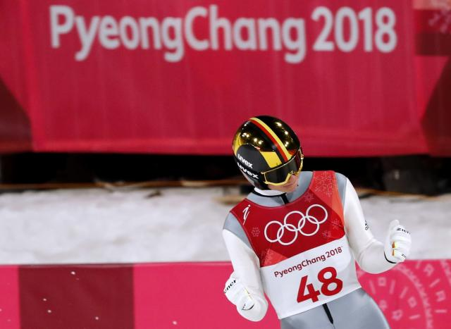 Ski Jumping - Pyeongchang 2018 Winter Olympics - Men's Large Hill Individual Final - Alpensia Ski Jumping Centre - Pyeongchang, South Korea - February 17, 2018. Andreas Wellinger of Germany reacts. REUTERS/Dominic Ebenbichler