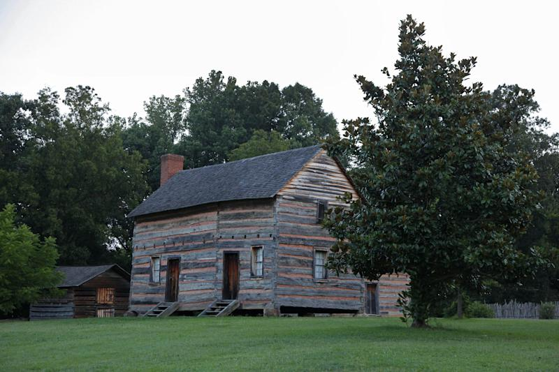 "This July 17, 2012 photo shows the birthplace of President James K. Polk is shown in Pineville, N.C. Delegates in town for the Democratic National Convention, which begins Sept. 3, will find several places in and around Charlotte where they can soak up a little political history. Polk was a proponent of ""Manifest Destiny"" who helped expand the nation's boundaries. (AP Photo/Chuck Burton)"