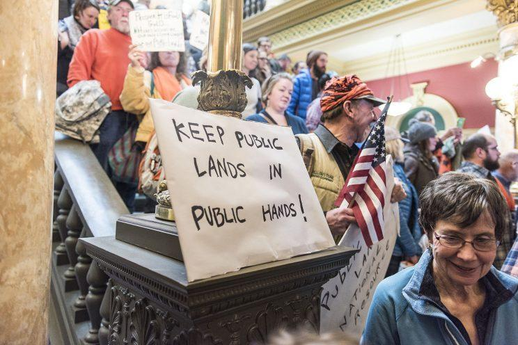 Demonstrators gather at the state capitol in Helena, Mont., for a rally in support of federal public lands. (Photo: William Campbell/Corbis via Getty Images)