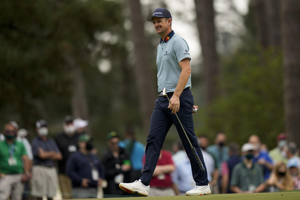 Justin Rose, of England, reacts after a bogey putt on the sixth hole during the second round of the Masters golf tournament on Friday, April 9, 2021, in Augusta, Ga. (AP Photo/David J. Phillip)