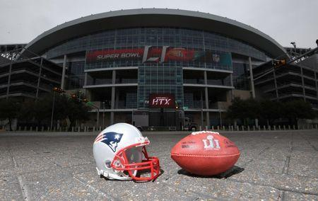 FILE PHOTO - Feb 4, 2017; Houston, TX USA; General overall view of New England Patriots helmet and Wilson NFL official Duke Super Bowl LI logo football at NRG Stadium. Mandatory Credit: Kirby Lee-USA TODAY Sports
