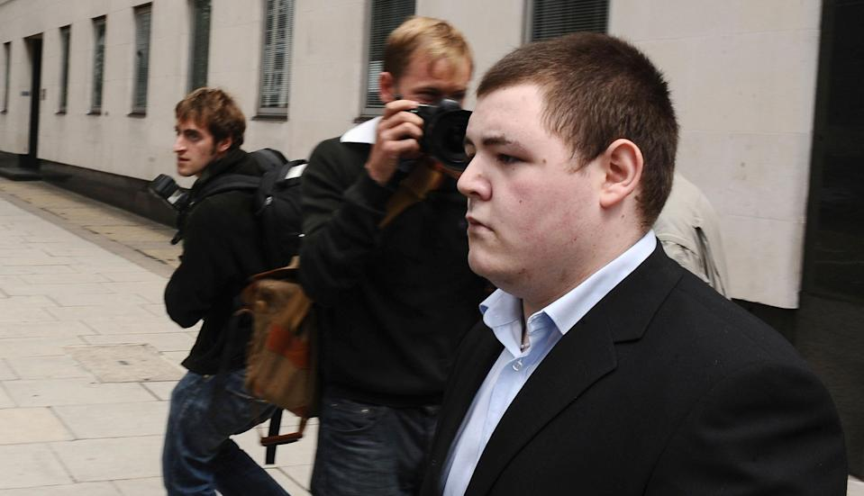 Jamie Waylett, actor in the Harry Potter films, leaves Westminster Magistrates Court in London, after he pleaded guilty to growing 10 plants in tents at his mother's home.   (Photo by Ian West/PA Images via Getty Images)