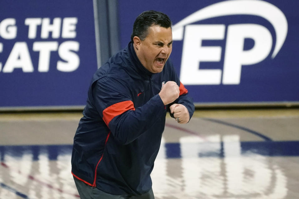 Arizona head coach Sean Miller reacts to a play against Arizona State during the first half of an NCAA college basketball game, Monday, Jan. 25, 2021, in Tucson, Ariz. (AP Photo/Rick Scuteri)