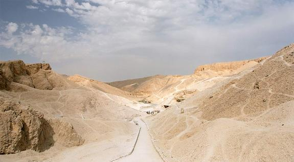 A view of the Valley of the Kings, the burial place of rulers from Egypt's New Kingdom period (ca. 1550-1070 B.C.), including Merenptah.