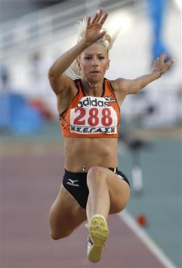 WITHDRAWAL FOR RACIST SLUR: Greece's Paraskevi Papachristou competes in the women's triple jump during the national championship athletics in Athens, July 30, 2011. Greek triple jumper Papachristou was withdrawn from the London Olympic Games after causing an uproar at home for tweeting what was seen as a racist slur, the head of the Greek Olympics team said.
