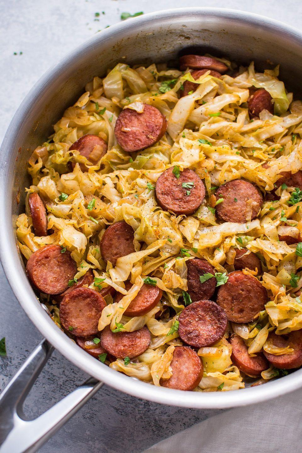 """<p>You need this one-skillet meal in your dinner rotation.</p><p>Get the recipe from <a href=""""http://www.saltandlavender.com/sauteed-cabbage-kielbasa/"""" rel=""""nofollow noopener"""" target=""""_blank"""" data-ylk=""""slk:Salt & Lavender"""" class=""""link rapid-noclick-resp"""">Salt & Lavender</a>.</p>"""