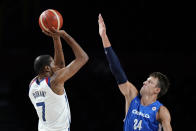 United States's Kevin Durant (7) shoots over Czech Republic's Jan Vesely (24) during a men's basketball preliminary round game at the 2020 Summer Olympics, Saturday, July 31, 2021, in Saitama, Japan. (AP Photo/Charlie Neibergall)