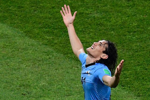 Uruguay are sweating on the fitness of Edison Cavani for Friday's quarter-final against France (AFP Photo/PIERRE-PHILIPPE MARCOU)